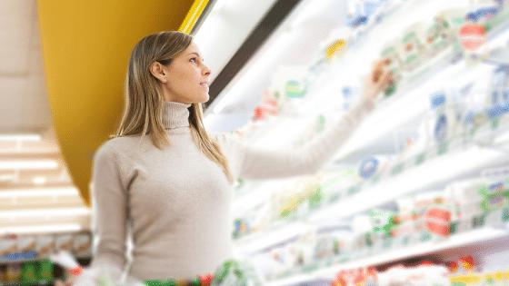 customer shopping for milk