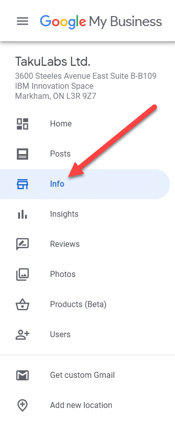 info bar on google my business